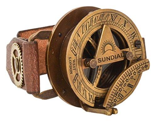 """Lederarmband mit Steampunk Uhr Gusti Leder studio \""""Denise\"""" Kompass Sonnenuhr Armreif Büffelleder Braun 2A159-24-10"""
