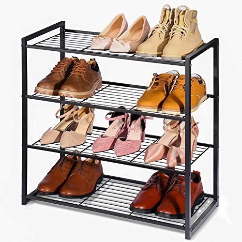 HOUSE DAY Shoe Rack 4 Tier Matte Shoe Storage Organiser Heavy Duty Metal Shoe Rack 63x32.5x63.5cm Multi-Functional Shoe Tower Shelf - Black