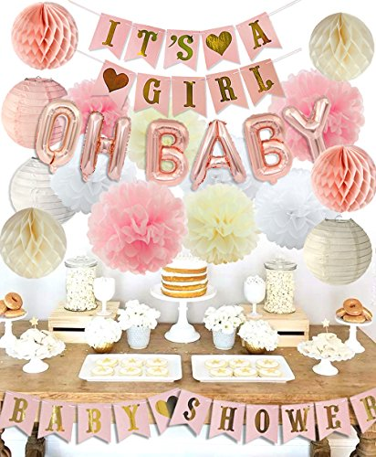 KREATWOW Girls Baby Shower Party Decorations It's A Girl Baby Shower Decorations Kit with It's A Girl Banner Tissue Paper Pompoms Lanterns Honeycomb Balls