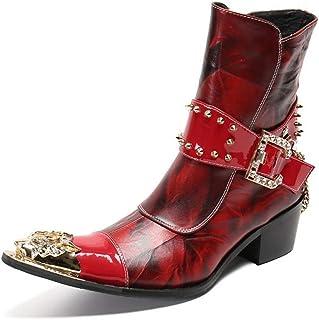 Bottes Homme Bottines Style Cowboy Cuir Marron Western en Métal Bout Pointu avec Boucle,Rouge, Taille EU 39-46