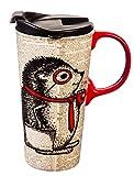 Cypress Home Cute Novelty Hedgehog Ceramic Travel Cup - 5 x 7 x 4 Inches Insulated Travel Coffee Tea Mug