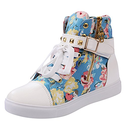iMaySon Womens Skull High Top Sneaker Wedge Lace Up Zip Increat Shoes
