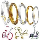 Filo di alluminio, filo metallico oro e argento pieghevole per la creazione di gioielli fai da te (5 misure)