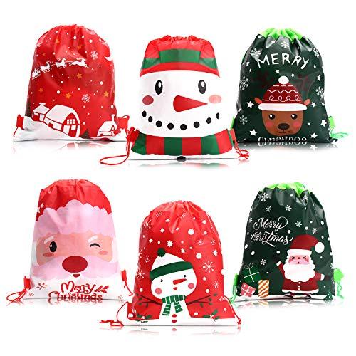 VEYLIN Bolsas de tela con cordón, paquete de 12 unidades grandes de regalo de Navidad mochila de fieltro de Papá Noel bolsa de regalo para fiestas
