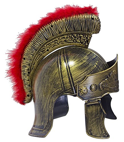 Das Kostümland Römer Helm mit Visier und Federbesatz - Zum Gladiatoren Kostüm für Party und Fasching