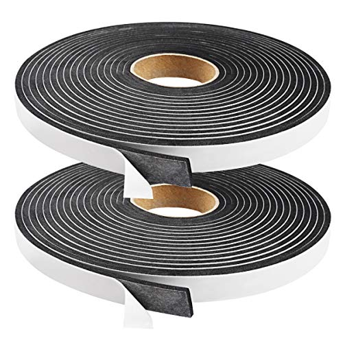 Seal Foam Tape,1/2 Inch W x 1/8 Inch T Weather Stripping for Door and Window,High Density Single Sided Closed Cell Door Insulation Weather Strip,2 Rolls 16FT Long Each