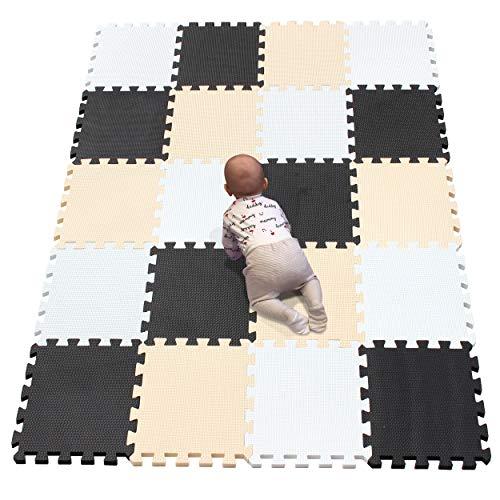 YIMINYUER Puzzlematte | Kälteschutz | abwaschbar | Kinderspielteppich Spielmatte Spielteppich Matte Schaumstoffmatte Kinderteppich Weiß Schwarz Beige R01R04R10G301020