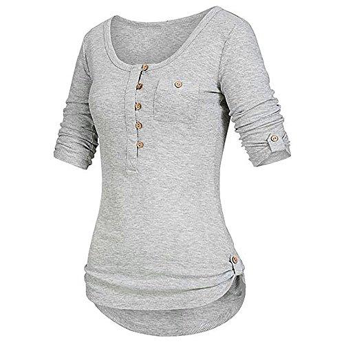 iHENGH Damen Sommer Top Bluse Bequem Lässig Mode T-Shirt Blusen Frauen festes langärmliges Knopf Blusen Pullover Oberseiten Hemd mit Taschen(Grau, M)