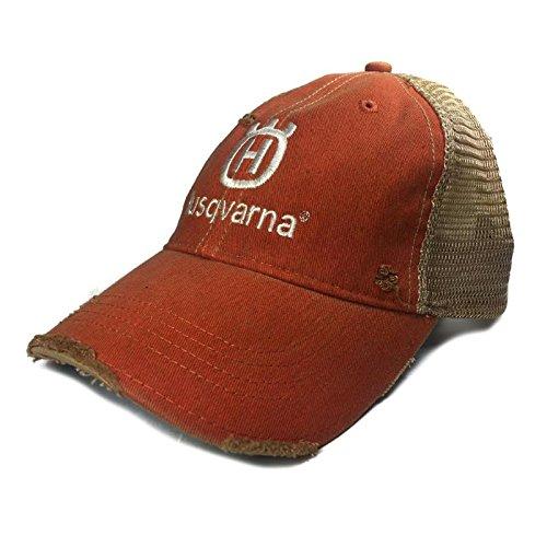 Husqvarna Trucker Distressed Orange Hat Cap White Logo