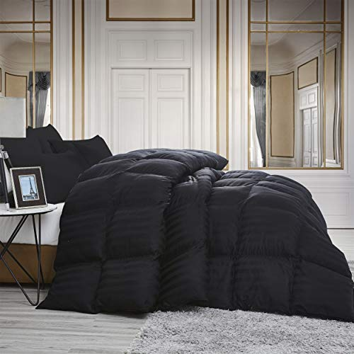 Luxurious All-Season Goose Down Comforter Queen Size Duvet Insert, Exquisite Black Stripe Design, 1200 Thread Count 100% Egyptian Cotton Down Proof Fabric, 750+ Fill Power, 55 oz Fill Weight