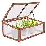 DREAMADE Frühbeetkasten Frühbeet Holz, Gewächshaus Treibhaus Pflanzenbeet für Garten Balkon, Frühbeet zum Bepflanzen für Gemüse, 100x65x40cm