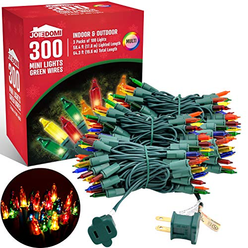 Joiedomi 100-Count Multi Color Christmas Lights (Set of 3), Clear Lights Bulbs Xmas Lights, Green Wire Christmas Lights for Outdoor/Indoor Decorations