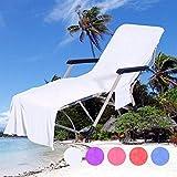 QCWN - Funda para silla de playa, toalla de microfibra para tumbona de piscina y funda reclinable, tumbona de día festivo, jardín, tumbona con bolsillos, White #1