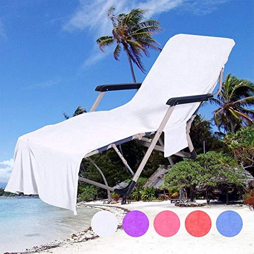 QCWN - Funda para silla de playa, toalla de microfibra y funda reclinable, para tumbona, jardín, con bolsa de bolsillos, color blanco