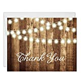 Rustic Thank You Cards with Envelopes (Pack of 50) Strings of Lights Folded Thank You Notes Excellent Value Thank You Notecards VT0007