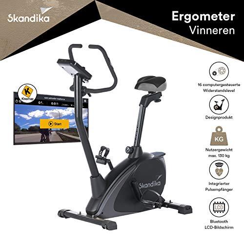 skandika Ergometer Design-Hometrainer Vinneren, Auswahl aus verschiedenen Sätteln, Magnetbremssystem, 11 kg Schwungmasse, 12 Trainingsprogramme, Tablet-Halterung, Bluetooth und App-Steuerung