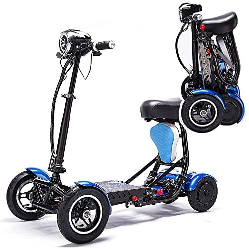 esScooters De Movilidad EléCtrica, para Adultos Mayores Discapacitados, DuracióN De La BateríA: 25 Km / 40 Km, Ligero/Plegable, Carga 120 Kg,Blue-15.6AH/40km