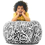 Stuffed Animal Storage Bean Bag – Toy Storage Organizer and Bean Bag Chair for Kids Holds up to 90+ Plush Toys – Cotton Canvas Bags Cover for Boys and Girls Ages 4-11 by 5 STARS UNITED, Grey Roses