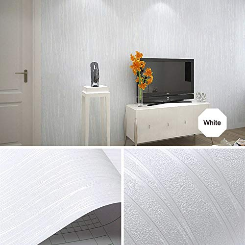 Guvana White Contact Paper Waterproof Self-Adhesive 17.7'x118' Wallpaper Removable Wallpaper Peel and Stick Wallpaper Decorative Contact Paper Wall Covering Cabinets Shelves Drawer Liner Vinyl Roll