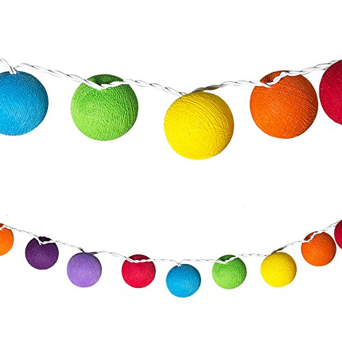 LED Lichterketten bunt 20 Baumwollkugeln (6 cm) CE 3,5m Deko innen Cotton Ball | Baby Nachtlicht Schlummerlicht | Dekoration Hochzeit Geburtstag Party Weihnachten Lichterkette | Textil Rosen (Rainbow)