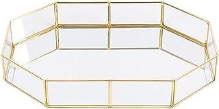 HOMYL Modern Glass Jewelry Display Tray Organizer Succulent Planter Table Decor - Gold, Polygons L