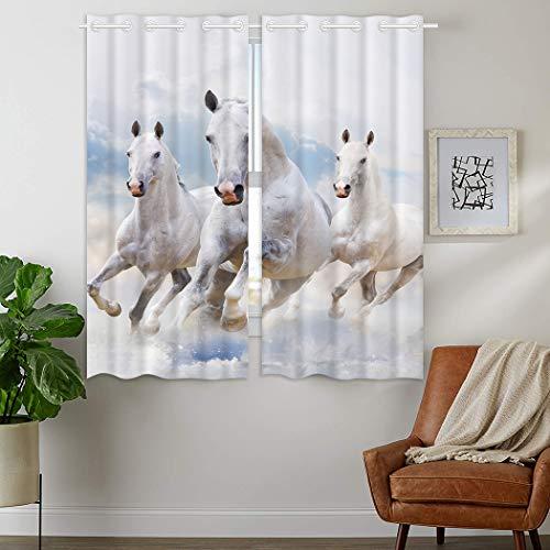 YISUMEI - Gardinen Blickdichter - Pentium Weißes Pferd,180 x 140 cm 2er Set Vorhang Verdunkelung mit Ösen für Schlafzimmer Wohnzimmer