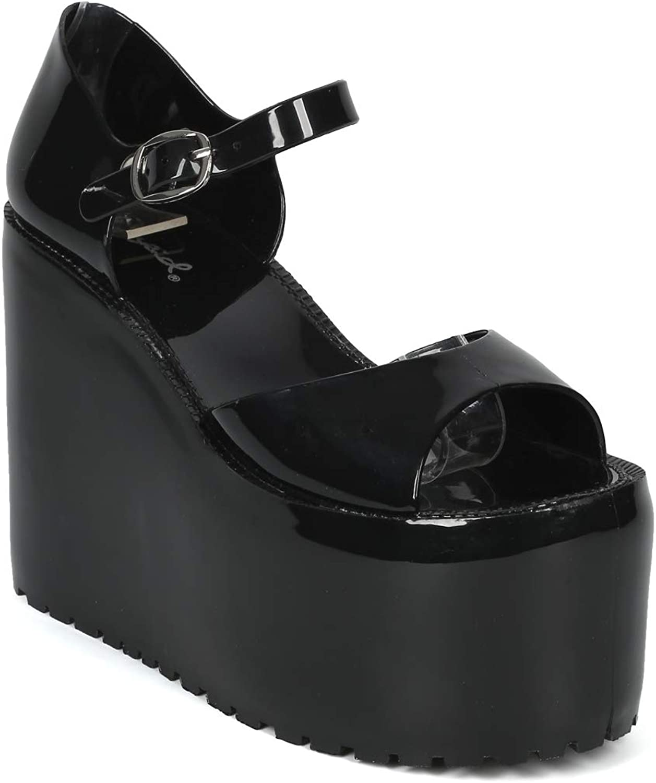 Alrisco Women Jelly Flatform Open Toe Ankle Strap Sandal - AI83