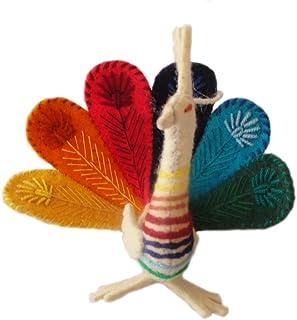 Silk Road Bazaar Multicolor Peacock Wool Ornament