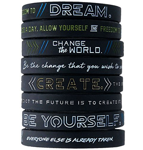 Inkstone (12-Pack) Be Yourself, Change The World, Create, Dream - Inspirational Silicone Bracelet Wristbands Wholesale Bulk Lot Bundle - Unisex Gifts for Teens Men Women Adults