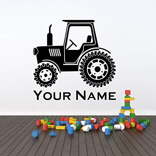 hetingyue Tractor Vinyl muursticker, kunst, aangepaste naam voor elke kleur en grootte, kinderkamer muursticker