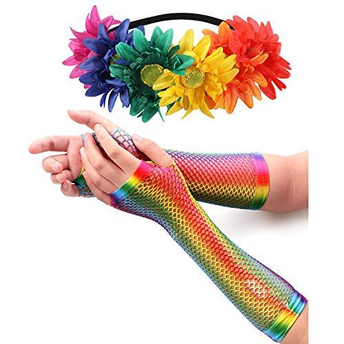 Vamei LGBT Gay Pride Accessoires Inclusief Regenboog Bloem Haarband Regenboog Handschoenen voor LGBT Carnaval Dress up