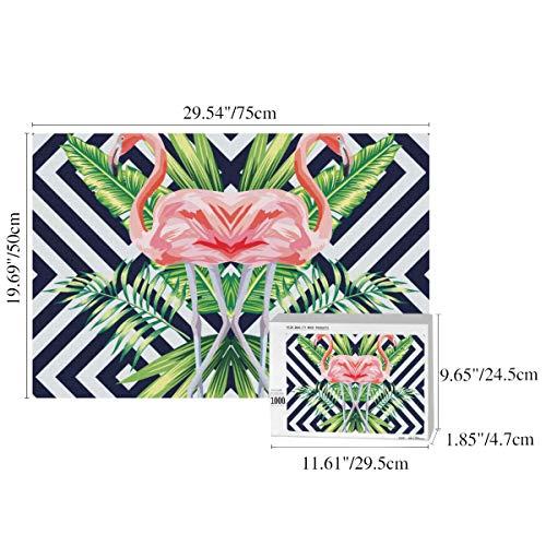 JOCHUAN 1000-teiliges Spiel-Puzzle Schöner Vogel Rosa Flamingo Tropische Bananenspiele Puzzles für Kinder Puzzlespiele 29,53 x 19,69 Zoll für Erwachsene Kinder Großes Bildungsgeschenk