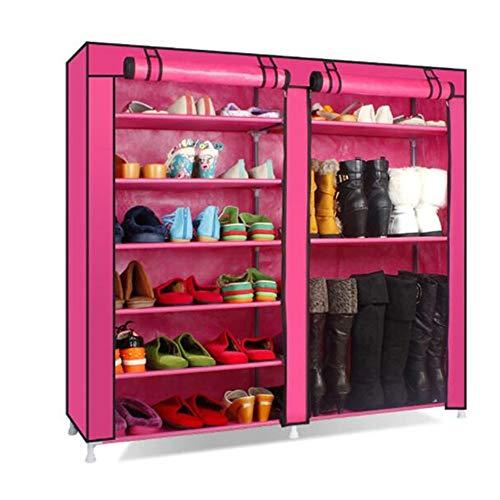 LULUVicky-Home Portable Garderobe Tuch Schuhschrank kann Put Boots Mehrschichtige Eisen zweireihig Lagerung Staub Moderne einfache Non-Woven Einfache Schuhregal Tragbarer Kleiderschrank