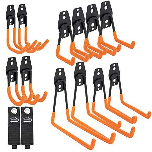 12 Pack Garage Storage Hook Set, DEWINNER Heavy Duty Mounted Tool Hanger Shed Hook, Garage Wall Bracket, Steel Heavy Duty Garage Storage Hooks, for Organizing Power Tools,Ladder,Bulk Items