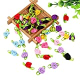 Gofypel Mini Rose Flower Ribbon Bows Craft Artificial Ornament with Leaf DIY Sewing Bows for Wedding Christmas 100pcs