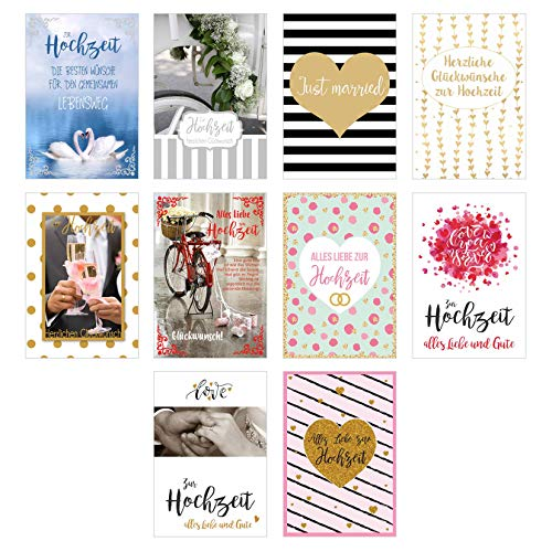 Edition Seidel Set 10 hochwertige Designer Premium Hochzeitskarten mit feiner Veredelung und Umschlag. Glückwunschkarte zur Hochzeit. Geschenk Geld Geldgeschenk (Doppelkarten mit Briefumschlag)