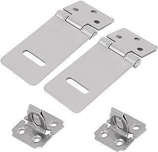 LDEXIN 2pcs Safety Door Hasp Latch Lock Zinc Plated Door Padlock Clasp Gate Hinge Eye Mount Locking Hasp for Push/Sliding/Barn Door (3inch)