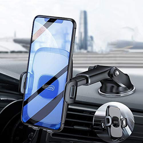 TORRAS Transformable Car Phone Mount Holders Windshield Dashboard[Military Grade] Vent Cell Phone Holder for Car with Suction Pad for iPhone 11 Pro Max/Xr/Xs/X/7/8, Samsung Galaxy S10/ Note 10 Plus