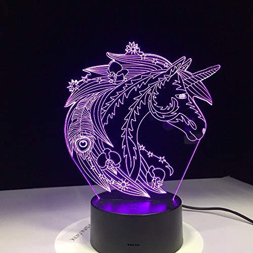 jiushixw 3D acryl nachtlampje met afstandsbediening tafellamp kleurverandering eetpatroon tafellamp kroon