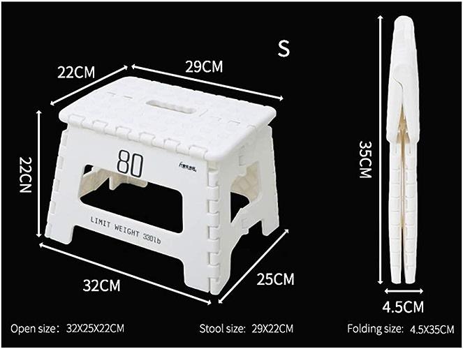 Tabouret Pliant En Plastique - Home Space Tabouret Portatif D'extérieur Pour Enfant, MultiCouleure, En Option - 4 Pièces (Couleur   Blanc, taille   S)