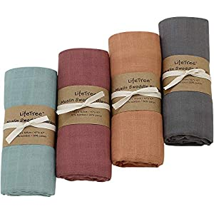 crib bedding and baby bedding lifetree 4 pack solid swaddle blankets, soft baby muslin receiving blanket wrap for boys & girls, large 47 x 47 inches, fall solid color baby swaddling
