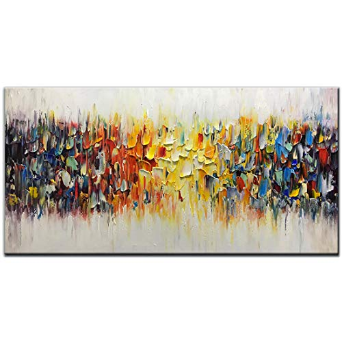 AMEI Art Paintings,24x48inch 3D Hand-Painted on Canvas Abstract Colorful Melody Oil Painting Modern Contemporary Artwork Oil Hand Paintings Stretched and Framed Ready to Hang for Living Room