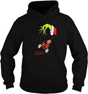 Grinch Arm Holding Baby Groot Drive Jeep Christmas Adult Hooded Sweatshirt