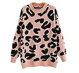 furong Mujeres Vintage Rosa Leopardo patrón suéter de Punto Vintage Manga Larga Hembra Jerseys de Gran tamaño Chic Tops (Color : Pink, Size : One Size)