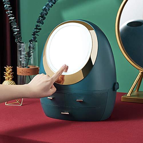 Organizador cosmético Caja de almacenamiento LED Light Mirror Cajón Tipo de cajón de escritorio portátil Cuidado de la piel Almacenamiento de productos a prueba de polvo Caja de maquillaje (verde)