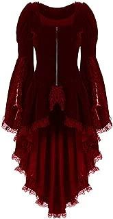 FEISI22 Womens Renaissance Corset Dress Gothic Halloween Cosplay Classic Black Layered Lace-up Cotton Lolita Dress