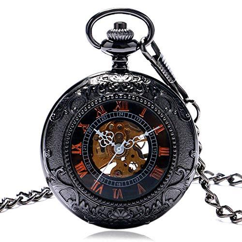 WLGQ Reloj de Bolsillo Relojes Vintage Vidrio Transparente Retro Número Romano Reloj de Bolsillo mecánico Collar de Cuello Hombre Atrevido Regalo de Mujer Retro Punk