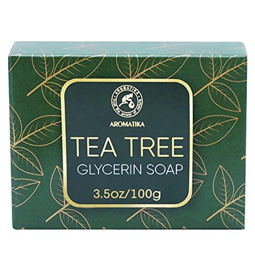 Jabón Glicerina con Aceite Esencial Árbol de Té - 100 g - Jabón Facial - Tea Tree Oil Soap - Artesanal Made - Jabón Suave - Jabón de Manos Árbol de Té - Hidratante para Todo Tipo de Pieles
