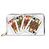Women's Long Leather Card Holder Purse Zipper Buckle Elegant Clutch Wallet, Queens Poker Set Faces Hearts and Spades Gambling Theme Symbols Playing Cards,Sleek and Slim Travel Purse