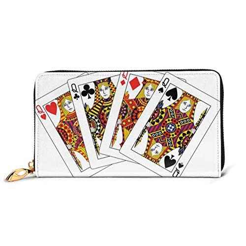 Women\'s Long Leather Card Holder Purse Zipper Buckle Elegant Clutch Wallet, Queens Poker Set Faces Hearts and Spades Gambling Theme Symbols Playing Cards,Sleek and Slim Travel Purse